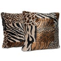 Faux Fur Mixed Animal Print 18-inch Throw Pillows (Set of 2)