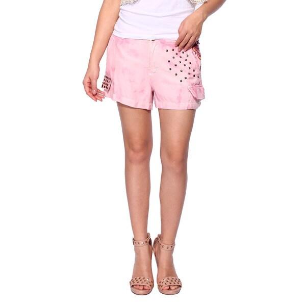 Da Nang Women's Silk Blend Pink Stud Shorts