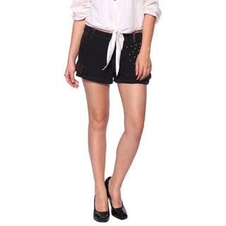 Da Nang Women's Silk Blend Black Shorts
