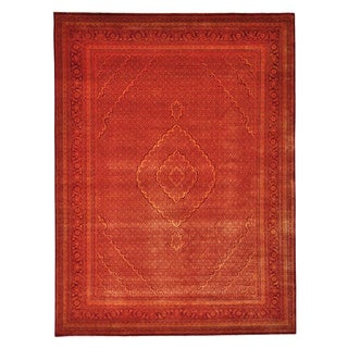 Handmade Tabriz Mahi Orange Wool/ Silk Oriental Rug (9' x 12'1)