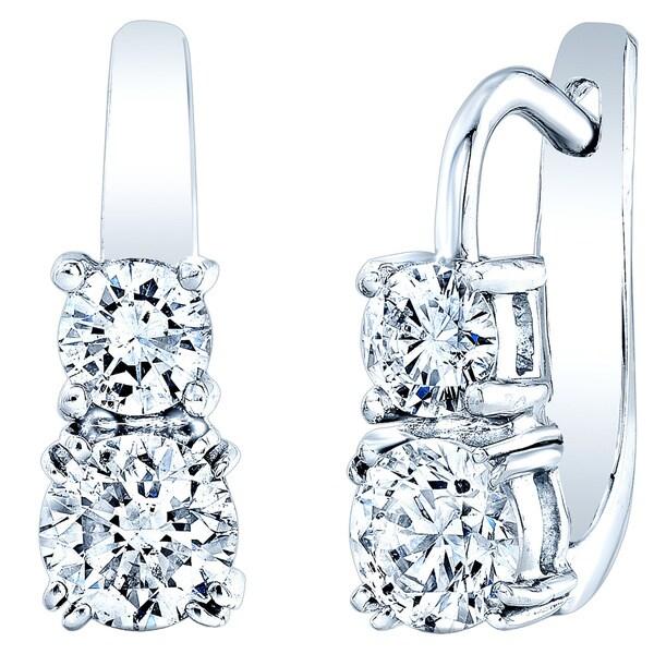 Estie G 14k White Gold 1 1/2ct TDW Diamond Drop Earrings (H-I, SI1-SI2)