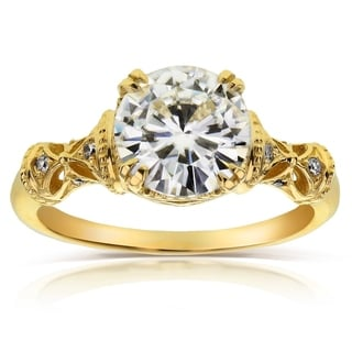 Annello 14k Yellow Gold Round-cut Moissanite and Diamond Fancy Antique Engagement Ring (G-H, I1-I2)