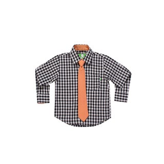 Future Trillionaire Boys Plaid Shirt with Chambray Neck Tie in Black