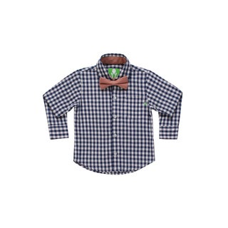 Future Trillionaire Boys Plaid Shirt with Chambray Bow Tie in Blue