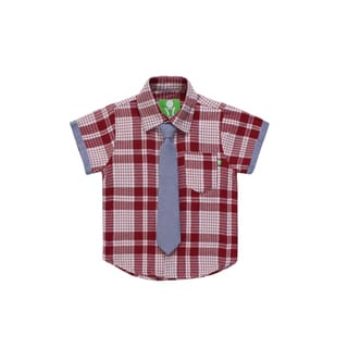 Future Trillionaire Boys' Red Plaid Shirt with Chambray Neck Tie