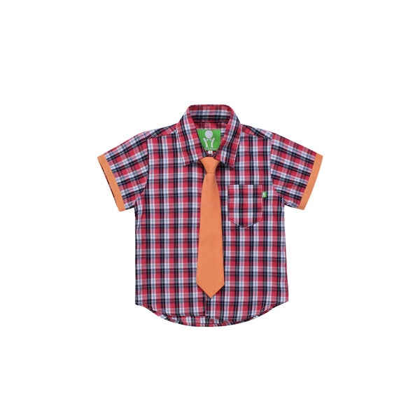 Future Trillionaire Boys Plaid Shirt with Chambray Neck Tie in Red