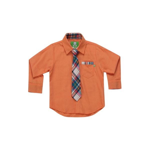 Future Trillionaire Boys Chambray Shirt with Plaid Neck Tie in Orange