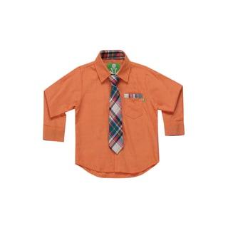 Future Trillionaire Boys Chambray Shirt with Plaid Neck Tie in Orange
