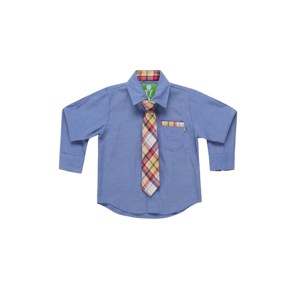 Future Trillionaire Boys Chambray Shirt with Plaid Neck Tie in Blue
