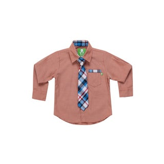 Future Trillionaire Boys Chambray Shirt with Plaid Neck Tie in Salmon