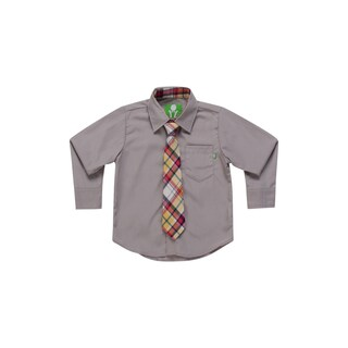 Future Trillionaire Boys Solid Shirt with Plaid Neck Tie in Grey