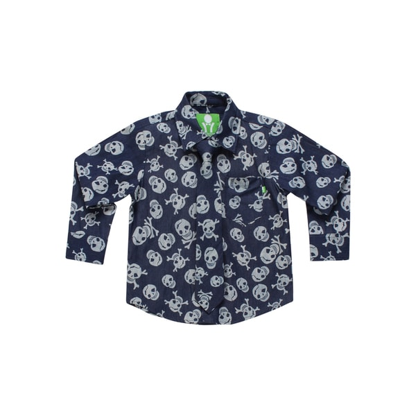 Future Trillionaire Boys Skull Print Shirt with Matching Neck Tie in Black