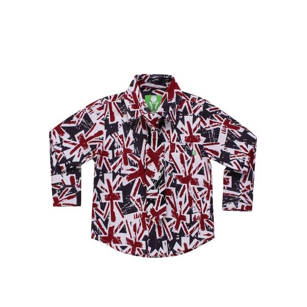 Future Trillionaire Boys Union Jack Print Shirt with Matching Neck Tie Navy