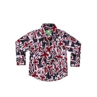 Future Trillionaire Boys Union Jack Print Shirt with Matching Neck Tie Navy