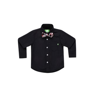 Future Trillionaire Boys Solid Black Shirt with Printed Bow Tie in Black