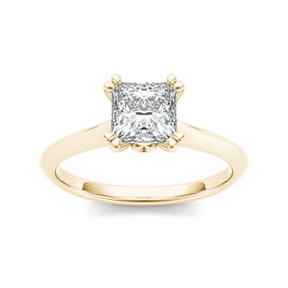 De Couer 14k Yellow Gold 1ct TDW Diamond Princess-Cut Exquisite Ring (H-I, I2)