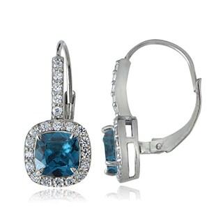 Glitzy Rocks Sterling Silver London Blue & White Topaz Cushion-cut Dangle Earrings