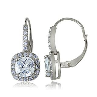 Icz Stonez Sterling Silver Cubic Zirconia Cushion-cut Dangle Earrings