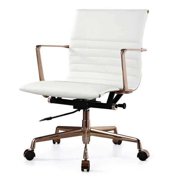 QUINZE fice Chair In in Rose Gold and White Italian
