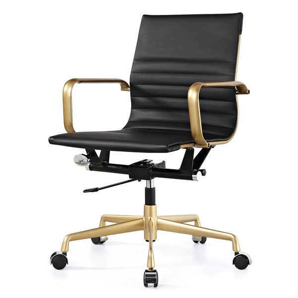 M348 Black Vegan Leather and Gold fice Chair