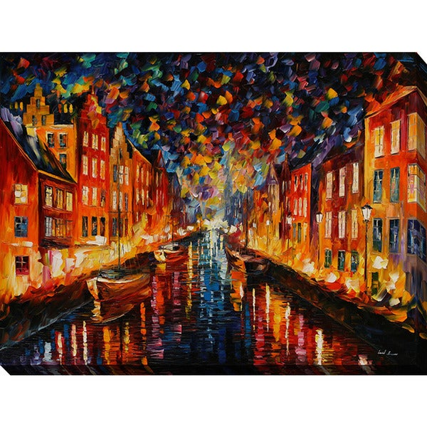 Leonid Afremov 'Night Copenhagen' Giclee Print Canvas Wall Art