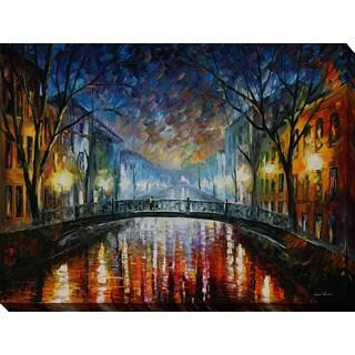 Leonid Afremov 'Misty Bridge' Giclee Print Canvas Wall Art