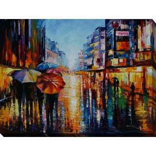 Leonid Afremov 'Night Umbrellas' Giclee Print Canvas Wall Art