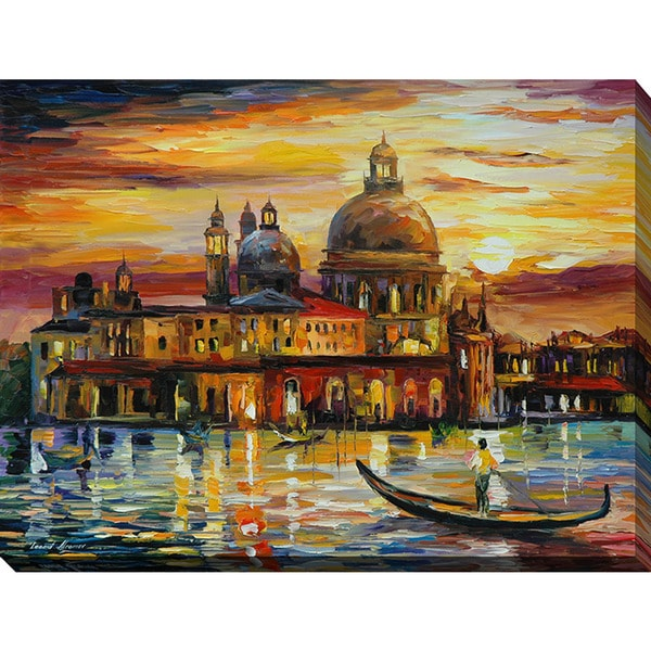 Leonid Afremov 'The Golden Skies Of Venice' Giclee Print Canvas Wall Art 15880216