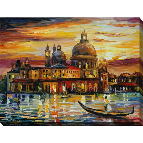 Leonid Afremov 'The Golden Skies Of Venice' Giclee Print Canvas Wall Art 15635288