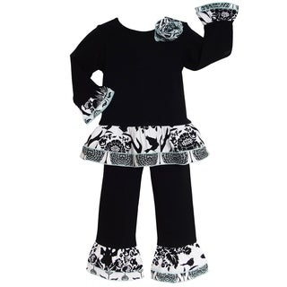 Ann Loren Boutique Girls' Black/ White Long Pants Outfit