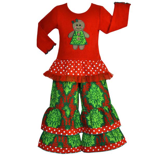 Ann Loren Boutique Girls' Christmas Damask Gingerbread Outfit