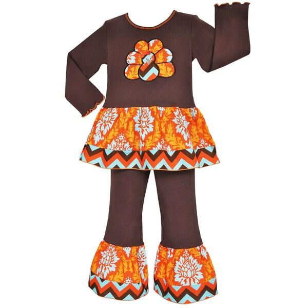Ann Loren Girls' Brown Autumn Damask Thanksgiving Turkey Outfit