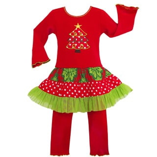 Ann Loren Girls' Christmas Damask Dots Dress 2-piece Outfit