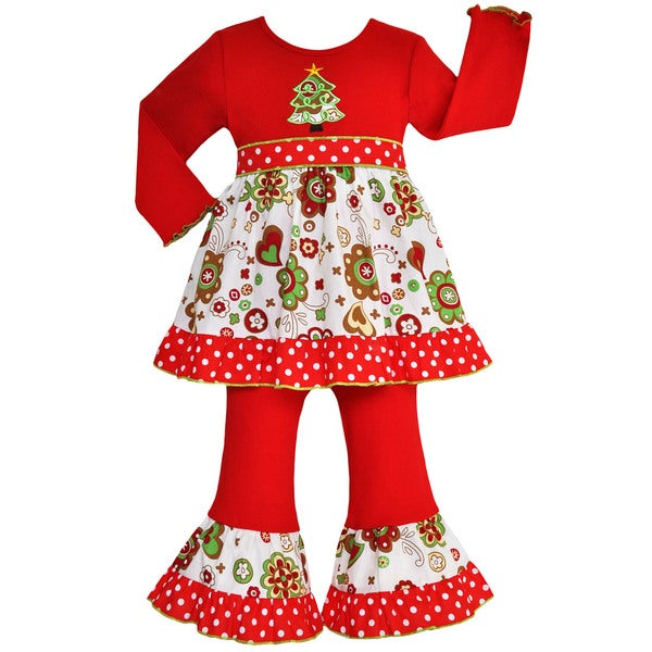 Ann Loren Girls' Christmas Tree Floral Dress/ Pants Outfit