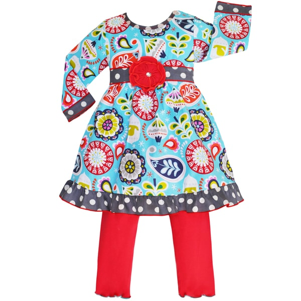 Ann Loren Girls' Christmas Floral Dress/ Leggings Outfit