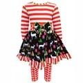 Ann Loren Girls' Christmas Floral Polka Dot Dress Pants Outfit