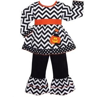 Ann Loren Girls' Halloween Chevron Black Cat in Pumpkin Outfit