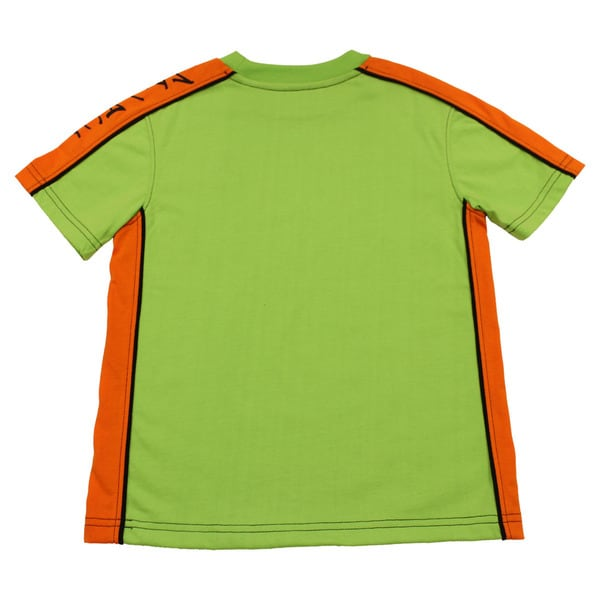 Boy's Mivaci Green With Orange Panel Short Sleeve T-Shirt