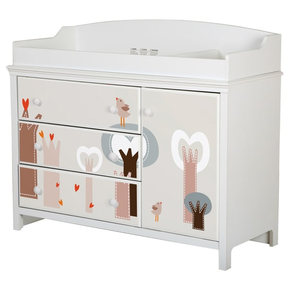 South Shore Cotton Candy Changing Table with Removable Top and Magic Forest Ottograff