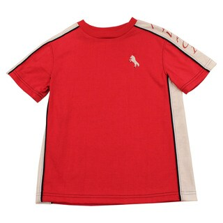 Boy's Mivaci Red With White Panel Short Sleeve T-Shirt