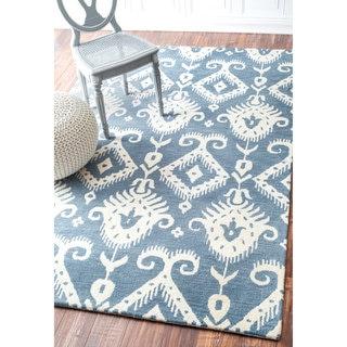 nuLOOM Handmade Southwestern Ikat Wool/ Viscose Blue Rug (7'6 x 9'6)