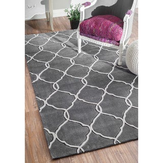 nuLOOM Handmade Pino Moroccan Grey Trellis Rug (9' x 12')
