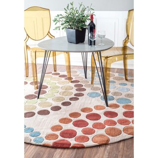 nulOOM Hanmade Modern Abstract Rings Beige Round Rug (6' Round)