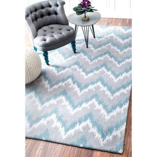nuLOOM Handmade Ikat Chevron Wool Blue Rug (7'6 x 9'6)