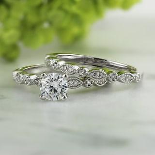 Auriya 14k White Gold 3/4ct TDW Vintage Style Bridal Ring Set (I-J, I1-I2)