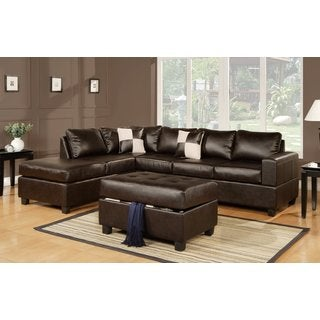 3-piece Modern Dark Brown Bonded Leather Reversible Sectional Sofa with Large Ottoman