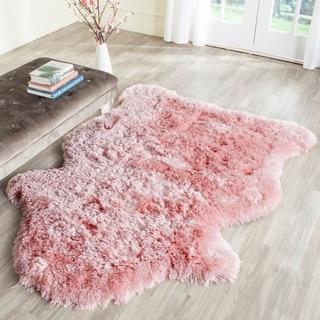 Safavieh Arctic Handmade Pink Hide Shaped Shag Rug (4' x 6')