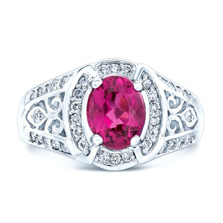 Estie G 14k White Gold Oval Rubellite and 2/5ct TDW Diamond Ring (H-I, SI1-SI2) (Size 7)