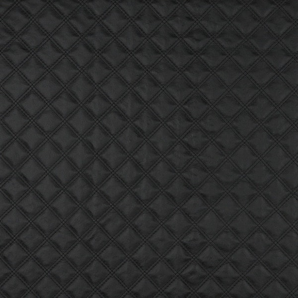 G350 Black Matte Diamonds Faux Leather Upholstery (By The Yard)