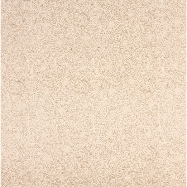 G249 Off White Intricate Floral Designed Faux Leather Upholstery (By The Yard)